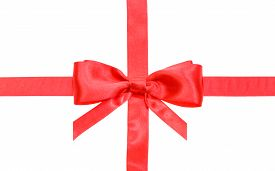 image of box-end  - real red bow with vertically cut ends on intersection of two red satin ribbons isolated on white background - JPG