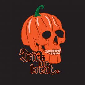 picture of halloween  - Halloween Pumpkin Skull on black background - JPG