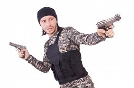 pic of handgun  - Caucasian soldier with handgun isolated on white - JPG