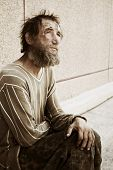 stock photo of tramp  - Homeless man - JPG