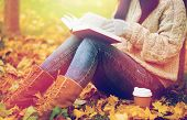 season, literature, education and people concept - close up of young woman reading book and drinking poster