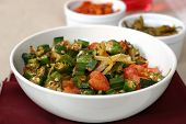 picture of indian food  - traditional indian dish of okra shallow fried with tomatoes - JPG