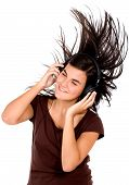 foto of party people  - girl listening to music looking happy in a disco  - JPG