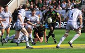 NORTHAMPTON, UK - SEPT 05: Ben Youngs (c) passes the ball for the tigers during Northampton Saints v