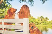 Girl With Red Hair Seated On A Bench From A Farm With Her Two Dogs poster