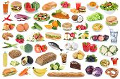 Food And Drink Collection Background Healthy Eating Fruits Vegetables Fruit Drinks Isolated poster