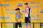 MT. BALDY, CA - MAY 21: Levi Leipheimer and Chris Horner celebrate their 1, 2 finish  at the 7th Sta