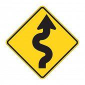 Постер, плакат: Дорожный знак кривых вперед предупреждение