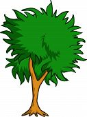 foto of planting trees  - Vector color illustration of a tree in nature - JPG