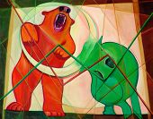 stock photo of expressionism  - Fine art cubism expressionism painting Bull and Bear with red and green chart lines stock market metaphor - JPG