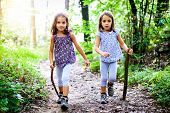 Children - Twin Girls Are Hiking In The Mountains. poster