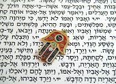pic of hamsa  - Hamsa kabbalah good luck charm on Hebrew bible - JPG