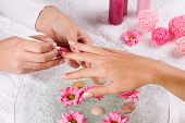 image of nail salon  - manicure treatment at the spa salon - JPG