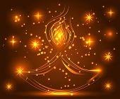 Happy Diwali. Light Background. Lamp, Oil Lamp With A Burning Fire On A Warm Brown Background poster