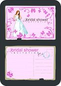 grunge vintage invitation for bridal shower with bride, butterfly and swirls and scrolls - front and