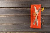 Overhead View Of Fall Thanksgiving Table Celebration Place Setting poster