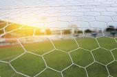Soccer Netting Football Net And  The Goal Stadium Field poster