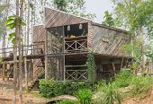 Wood Exterior House Design In Country Style Front View. Exterior House Among Natural Forest. Country poster