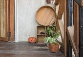 Basin And Plant On Terrace For Interior Design Room. Component Of Interior Design Room In Country Lo poster