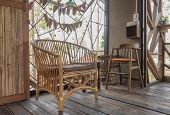 Rattan Arm Chair In Country Interior Design Room Style. Interior Design Room Include Wood Chair And  poster