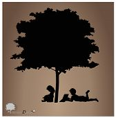 picture of boy girl shadow  - Vector background with children read a book under tree - JPG