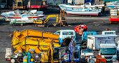 Heavy Machinery Second Hand Market. Boat, Forklift, Agricultural Machinery, And Electric Generator O poster