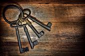 Antique Keys On Old Weathered Wood Board Planks