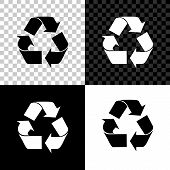 Recycle Symbol Icon Isolated On Black, White And Transparent Background. Circular Arrow Icon. Enviro poster
