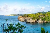 Scenic Caribbean Island Coastal Cliff Views. Coastal Countryside Setting On Sunny Summer Day In Trop poster