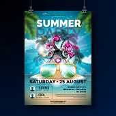 Summer Beach Party Flyer Design With Flower, Beach Ball And Sun Glasses. Vector Summer Nature Floral poster