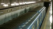 Subway Train At Station, Top View. Subway Train In Motion Arriving At Station. Underground Transport poster