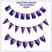 Bright Set With Flags Of Australia For Holidays. Vector Illustration. Happy Australia Day Background poster