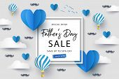 Happy Fathers Day Sale Background, Banner, Poster Or Flyer Design With Flying Origami Hearts Over Cl poster