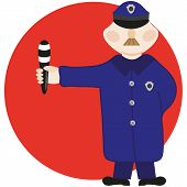 picture of infraction law  - The policeman gives a signal a staff in a hand - JPG