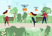 Cartoon Man Woman Recieve Mail. Air Drone Delivery Outdoors Vector Illustration. People In Park. Sky poster