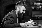 Hipster Hungry Eat Pub Fried Food. Manager Formal Suit Sit At Bar Counter. Delicious Meal. Man Recei poster