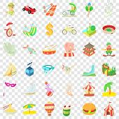 Tourism Icons Set. Cartoon Style Of 36 Tourism Vector Icons For Web For Any Design poster