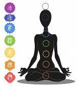 stock photo of chakra  - Man silhouette in yoga position with the symbols of seven chakras - JPG