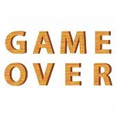 Retro Pixel Game Over Sign On White Background. Gaming Concept. Video Game Screen. poster