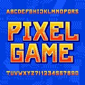 Pixel Game Alphabet Font. Digital Gradient Letters And Numbers On Pixelated Background. 80s Retro Ar poster