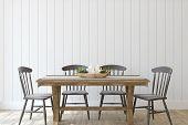 Modern Farmhouse Dining-room. Interior Mockup. 3d Render. poster