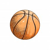 Vector Drawing Of Basketball Ball In Color, Isolated On White Background. Graphic Illustration, Hand poster