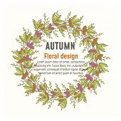 Vector Autumn Floral Greenery Poster, Card Round Circle Design: Forest Fern Frond Eucalyptus Branch  poster
