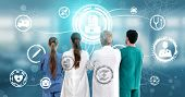 Medical Healthcare Concept - Doctor In Hospital With Digital Medical Icons Graphic Banner Showing Sy poster