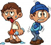 image of shivering  - Cartoon kid in hot and cold weather - JPG