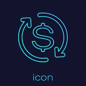 Turquoise Return Of Investment Line Icon Isolated On Blue Background. Money Convert Icon. Refund Sig poster