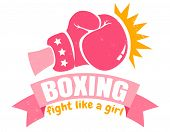 Vector Vintage Logo For A Boxing With Pink Glove. Retro Emblem For Women Boxing. Poster Of Girl Boxi poster