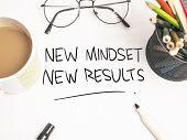 Self Development Motivational Words Quotes Concept, New Mindset Result poster