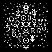 Astrological Set N20, The Excerpt Of Some Recent Astrological Signs And Occult Mystical Symbols. Ast poster
