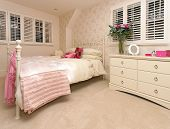 picture of femenine  - Retro bedroom interior with feminine room decor - JPG